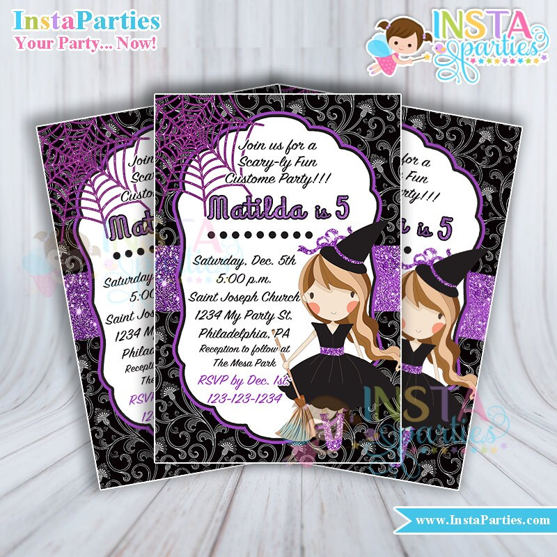 Halloween Invitations witch Party Girl sweet Purple Birthday