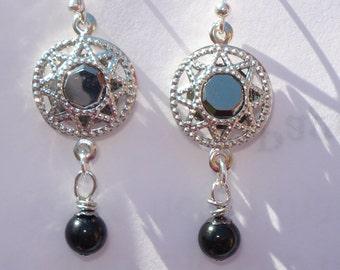 Black Tourmaline Dangle Earrings