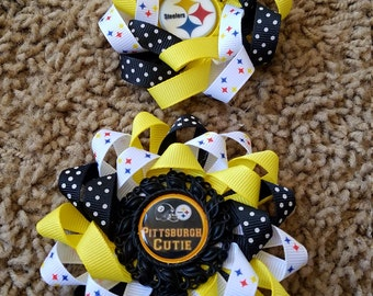 Steelers Hairbows on clips