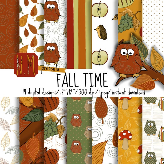 Orange Fall digital paper pack, Fall digital pattern with cute owls, leaves, pumpkin, grapes, apples and mushrooms for scrapbooking, yellow