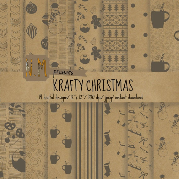 Kraft paper Christmas digital paper pack christmas digital pattern craft paper christmas pattern gray candy cane, snowman, reindeer, cookies
