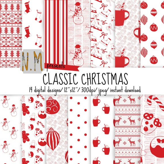 Red and White Christmas digital paper pack, christmas digital pattern red and white christmas pattern with ornaments, cookies, hot chocolate