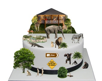 Stand Up Zoo Jungle Animal Scene made from Fully Edible Premium Wafer Paper - Cake Topper Decoration
