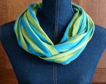 Turquoise & Kiwi Green Striped Infinity Scarf; Knit Scarf; Circle Scarf; Loop Scarf; Blue Infinity Scarf; Scarves Wrap