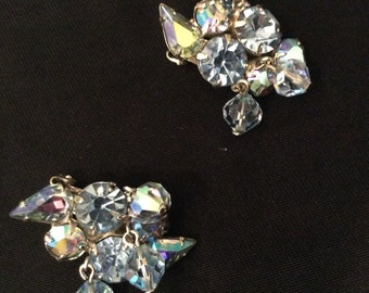 "Vintage ""WEISS"" 1950's Blue Rhinestone Earrings"