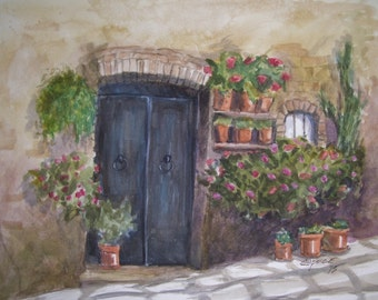 "Tuscany Door,16""x20""Original Watercolor,ONE OF A KIND,Not a Print"