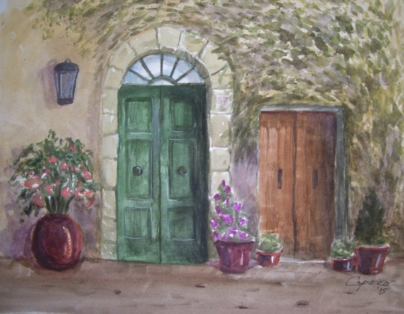 "Tuscany Green Door,16""x20"" Original Watercolor,ONE OF A KIND,Not a Print,Free Shipping Code SKYE2"