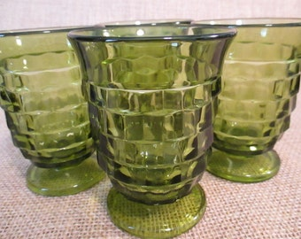 Vintage Indiana Glass Company Whitehall Olive Green Small Juice Glasses - Set of 4