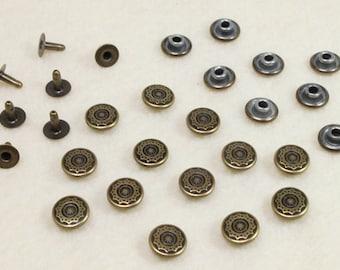 50 Sets - 9 mm Antique Bronze Star Snow flake Rivets Decorations, Fancy Rivets, Bag Making, Jeans, Leather Craft - KK.8