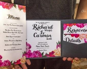 Floral Invitation Wedding Vintage Invitation