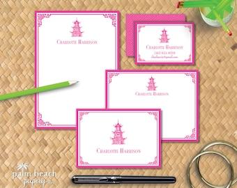 Chinoiserie Mini Bundle - Personalized Stationery Gift Set - Custom Notepad Stationary, Flat Note Cards, Folded Notecards, Calling Cards