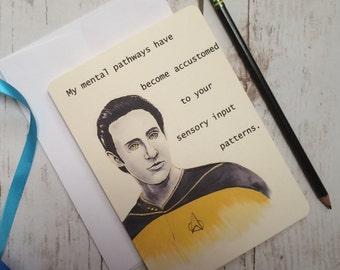 Star trek Data Valentine's Day card, Next generation flirtatious greeting card