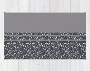 Grey Area Floor Rug Titanium Grey Gray Ash Black White Dots Splotches Throw Woven Rectangle Modern Home Decor