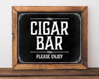 Chalkboard wedding cigar bar sign. Rustic wedding decorations. Rustic wedding signs. Printable wedding signage. Instant digital download