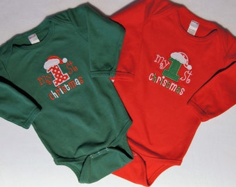 My 1st Christmas Onesie, Baby's First Christmas, Red or Green