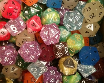 Factory Second Half Pound of Dice- Glitter, Glow in the Dark, and Mix Dice