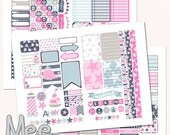 Summer,Pink  Nautical Planner Stickers Printable,THP sticker kit,instant download,Happy planner size,planner stickers,cut lines file,sweet