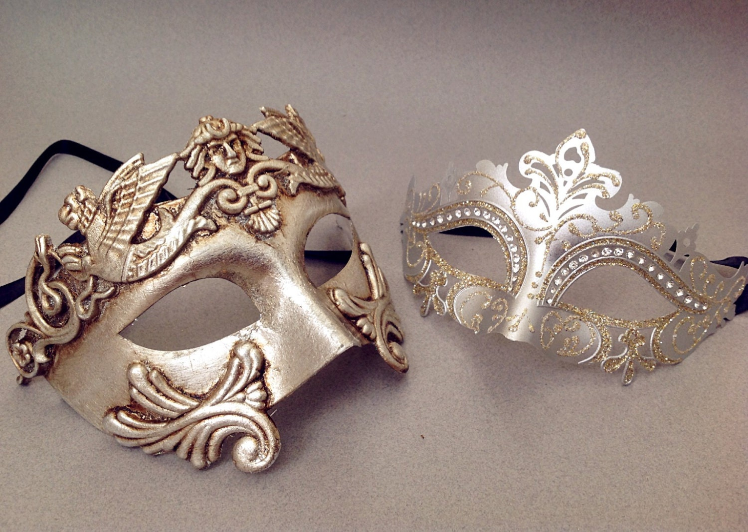 Couple masquerade mask pair Silver Gold Roman Gladiator Mens