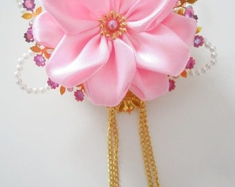 Early summer flowers comb~wedding gift~Japanese Antique~Summer wedding~Pink satin flower~Bridesmaid gift~modern bride