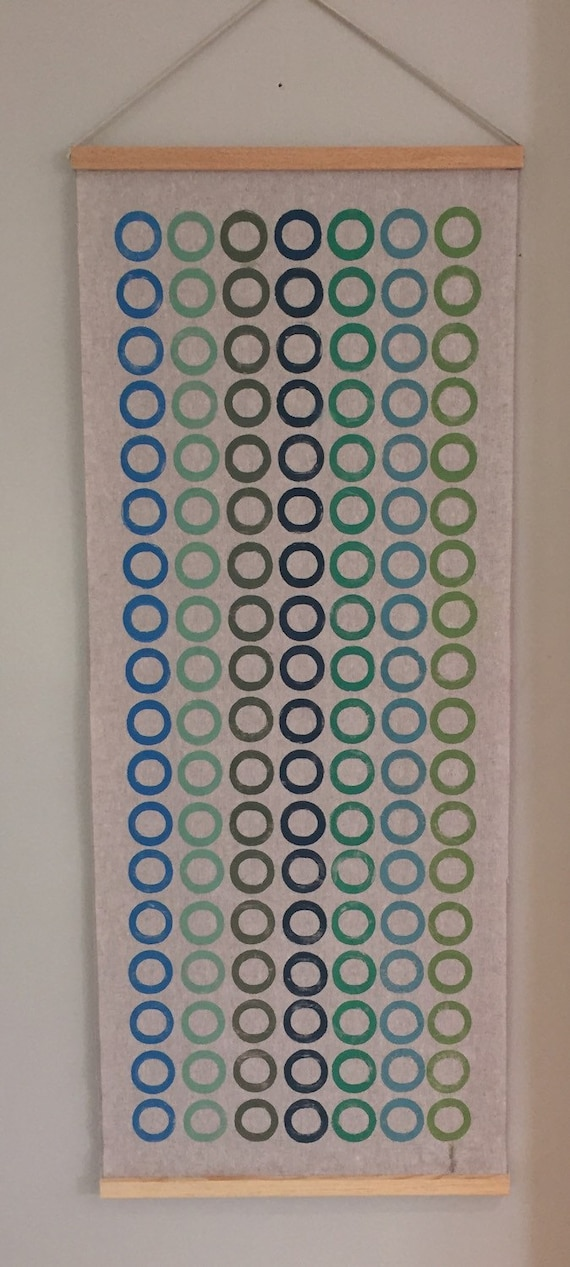 Modern wall art-handmade contemporary block printed fabric wall hanging