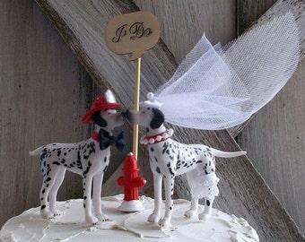 Fireman Wedding Cake Topper ~ Firefighter ~ Firemen ~ Fire FIghter ~ Cake Topper ~ Wedding Cake Topper ~ Fireman's Helmet ~ Dalmation Dog