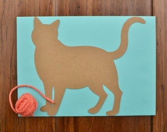Cat Note Card - Cat Stationary - Blank Cat Card