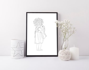 Black and White Minimalist Nursery Print - Girls Room Decor - Modern Nursery Print - Girl and Rabbit Illustration - Cute Nursery Wall Art