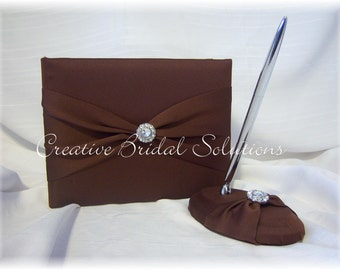 Brown Wedding Guest Book and Pen Set