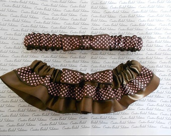 Brown and Pink Polka Dot Wedding Bridal Garter Set