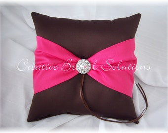 Brown and Fuchsia Pink Wedding Ring Bearer Pillow