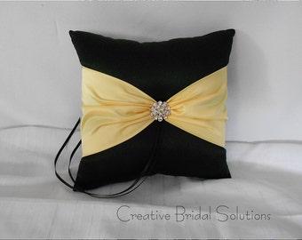 Black and Yellow Wedding Ring Bearer Pillow