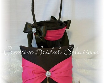 Dark Brown and Fuchsia Pink Wedding Ring Bearer Pillow Flower Basket