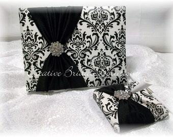 Black and White Madison Damask Wedding Guest Book and Pen Set
