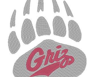Montana Grizzlies Embroidery Design.  3 Sizes