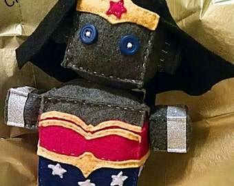 Wonder Woman Robot Plush- Ready to Ship- Free Shipping