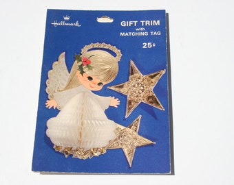Vintage Hallmark Honeycomb Gift Trim with Tags, Christmas Angel Gold Star Package Decoration, Gift Wrapping Decoration,