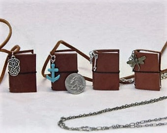 Mini Leather Notebook Necklace
