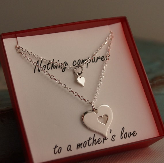 Mother Daughter Neckalce Set of two - Sterling Silver Mother's Day Neckalce - Gift for Mom - A Mother's Love