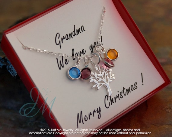 Grandma Necklace - Gift for Grandma - Sterling Silver Birhtstone neckalce - Grandma we love you (Three kids)
