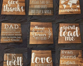 "Customizable Handmade Wood Sign with Quote, Scripture, or Any Other Text- 11.5"" x 11.5"""