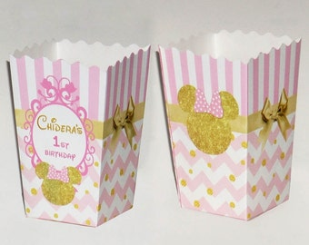 Minnie Mouse pink and gold Personalized Popcorn favor Boxes (Set of 10)