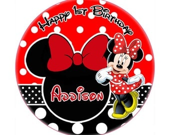 Printable Minnie Mouse red polka dot round sticker -lollipop, Gift Tag