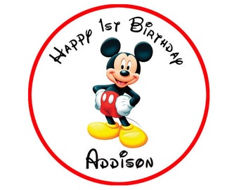 Mickey Mouse round stickers Birthday label- Printable