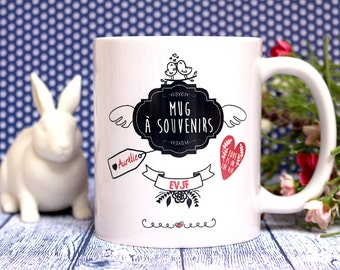 "Mug memories ""EVJF, burial life of girl"". Gift wedding, bride. Text and graphics by PIOU creations. Made in France"