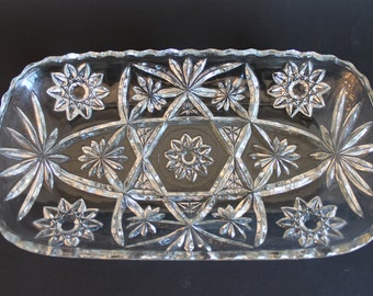 Anchor Hocking EAPC Star of David Pattern Relish Celery Tray with Scalloped Edge
