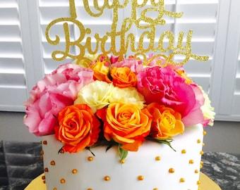 Happy Birthday glitter cardstock cake topper