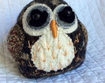 Louie the owl - Felted wool owl. Eco friendly owl plushie. Woodland animal. Rustic decor. Upcycled wool / cashmere.