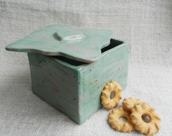 Hand made ceramic breakfast set biscuit barrel and couple of cups
