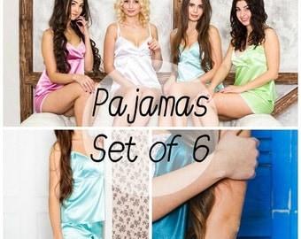 Set of 6, -15% DISCOUNT, SIENA pajama set, bridesmaid gift, pajamas, monogram pajama, bridesmaid pajama, pajama shorts & top, sleepwear