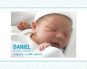 Birth Announcement A6 Cards - Full image - Baby Boy or Baby Girl - New Baby